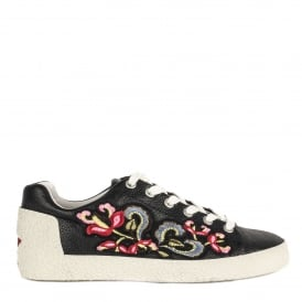 NAK Embroidered Trainers Black Leather