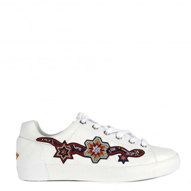 Ash NAMASTE Beaded Trainers White Textured Leather