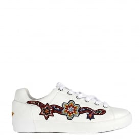 NAMASTE Beaded Trainers White Textured Leather