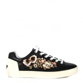 NAOKI Embellished Trainers Black Leather & Sequins