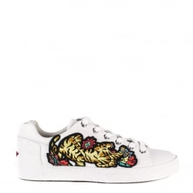 NIAGARA Tiger Embroidered Trainers White Leather