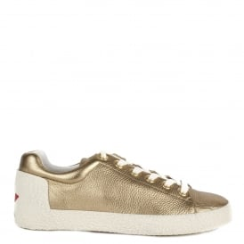 NICKY Trainers Gold Textured Leather