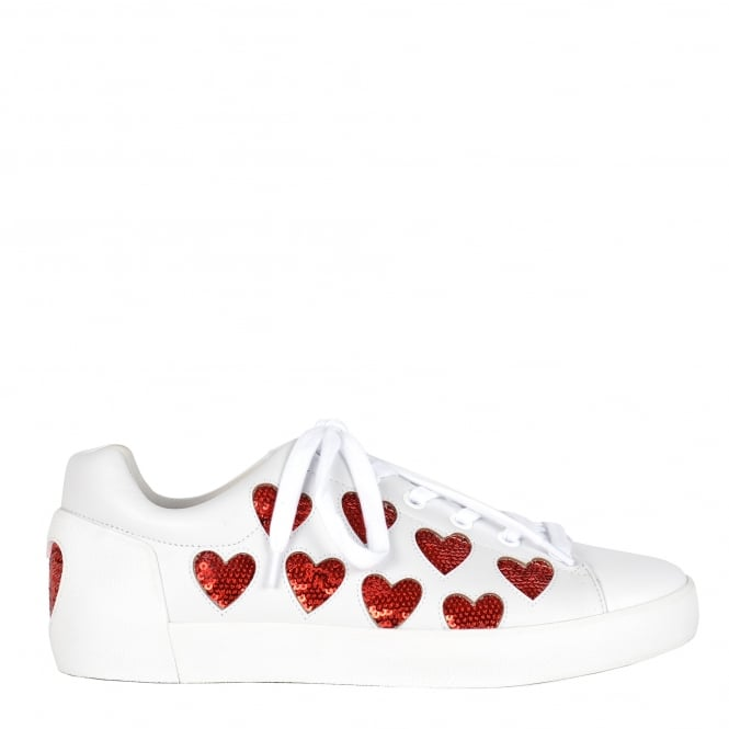 Ash NIKITA Trainers White Leather & Red Heart Sequins