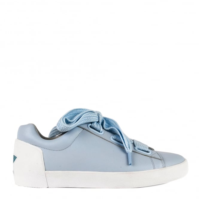 Ash NINA Trainers Ice Blue Leather & Chunky Knit Lace
