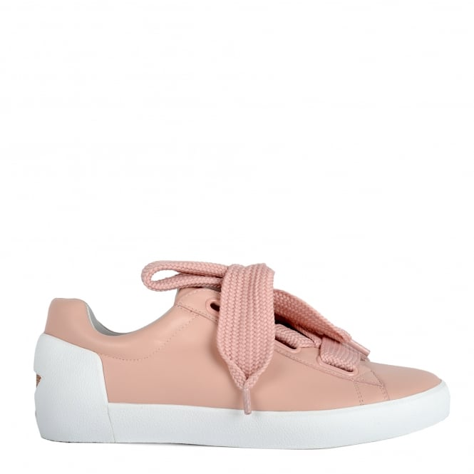 Ash NINA Trainers Nude Pink Leather & Chunky Knit Lace