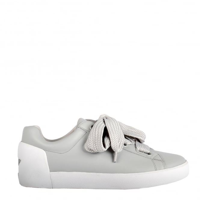 Ash NINA Trainers Pearl Grey Leather & Chunky Knit Lace