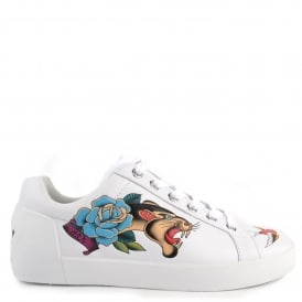 NOA Trainers White Leather & Floral Animal Print