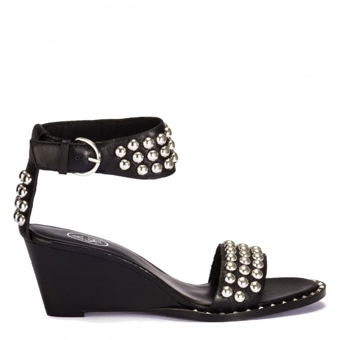 Ash NOELIA Wedge Sandals Black Leather Silver Studs