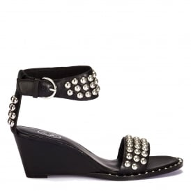 NOELIA Wedge Sandals Black Leather Silver Studs