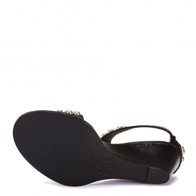 ea2e278cb48 Shop Ash Noelia Sandals In Black Leather With Silver Studs Online Today