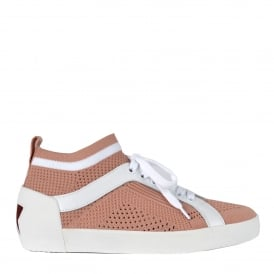 NOLITA Sock Trainers Pink & White Stretch Mesh Knit
