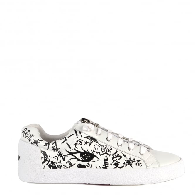 Ash NOVA Trainers White Leather with Graffiti Print