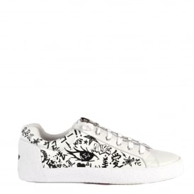NOVA Trainers White Leather with Graffiti Print