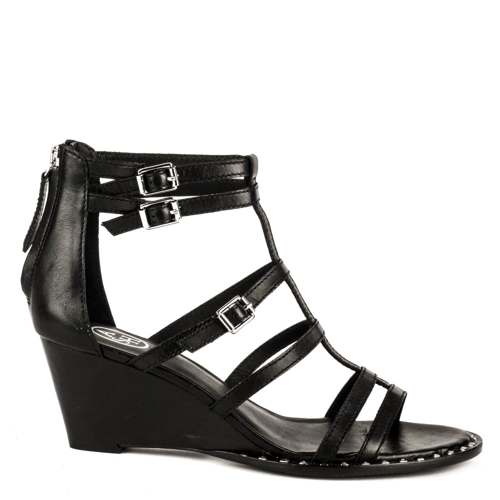 Black sandals uk - Nuba Bis Wedge Sandals Black Leather
