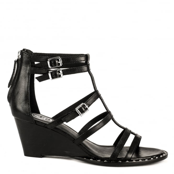 Ash NUBA BIS Wedge Sandals Black Leather