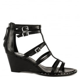 NUBA BIS Wedge Sandals Black Leather