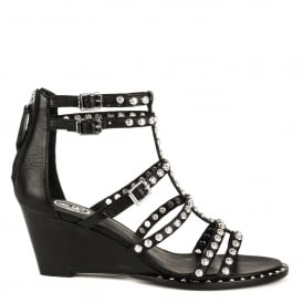 NUBA Studded Sandals Black Leather & Silver