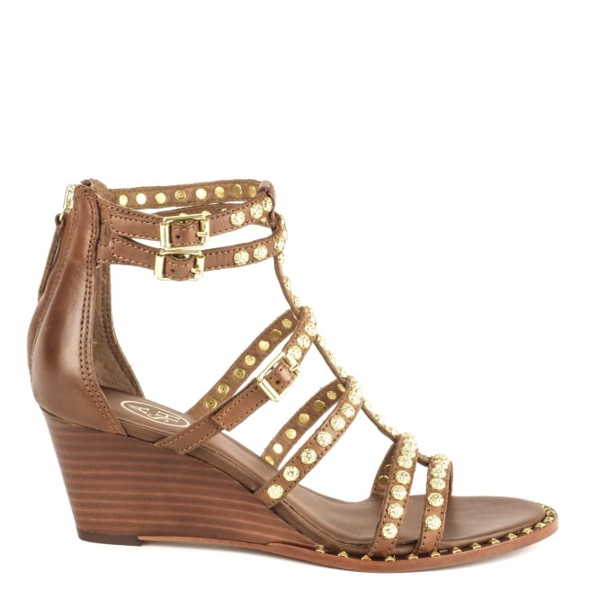 Ash NUBA Studded Sandals Cacao Leather & Gold