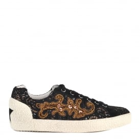 NYMPHEA Trainers Black Printed Woven Fabric