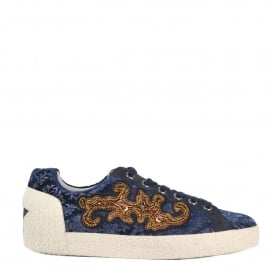 NYMPHEA Trainers Midnight Blue Patterned Velvet