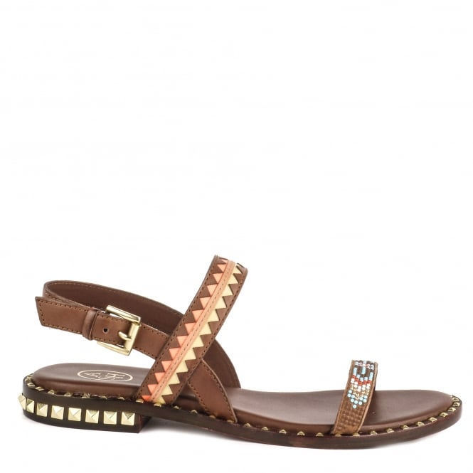 Ash PACO Patterned Sandals Cacao Brown Leather