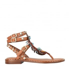 PANDORA Beaded Sandals Brown Leather & Silver Studs