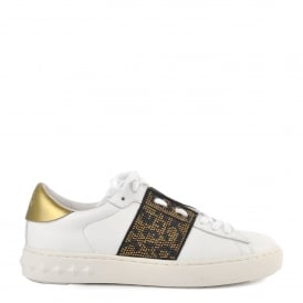 PANTHERA Trainers White Leather & Leopard Print Embellishment