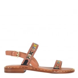 PAPAYA Beaded Sandals Tan Leather & Gold Studs