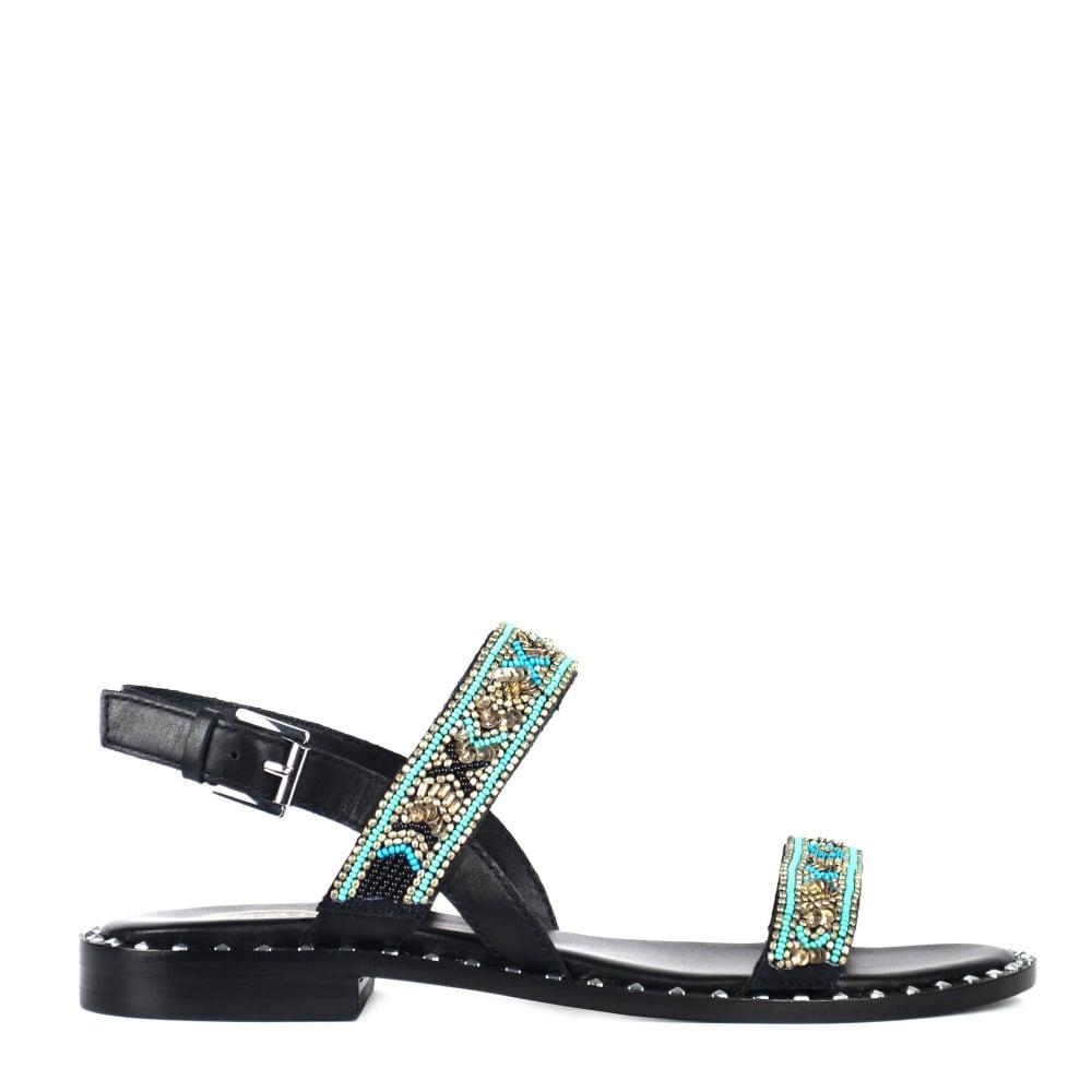 Cendres Perles Sandales Supérieures - Noir 6AaDg