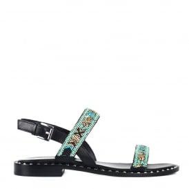 PAPAYA Sandals Black Leather & Silver Studs