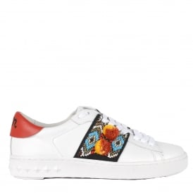 PAPOU Beaded Trainers White Leather & Pom Poms