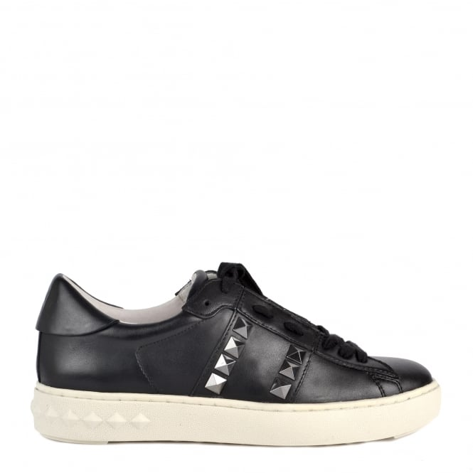 Ash PARTY Trainers Black Leather Gunmetal Studs