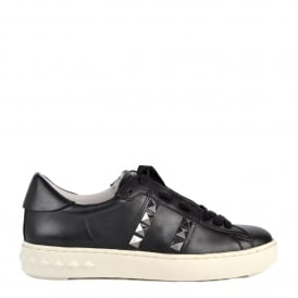 PARTY Trainers Black Leather Gunmetal Studs