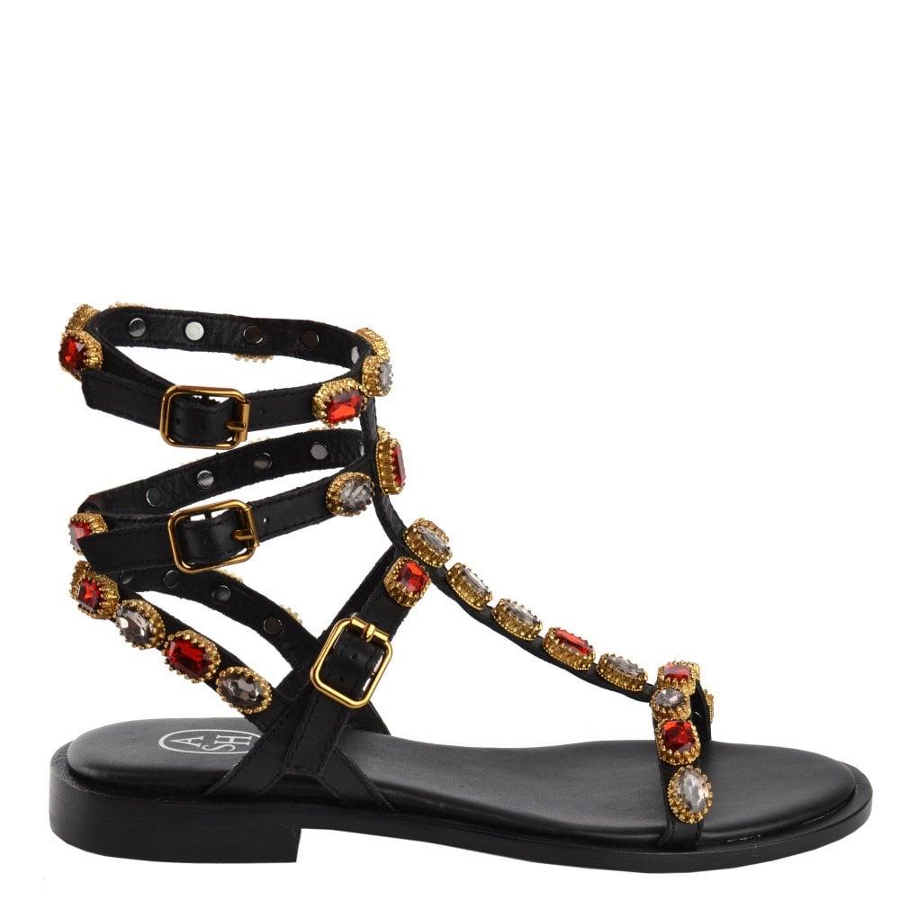 3e360752f3a77 Ash PASSION Gemstone Sandals in Black Leather