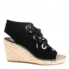 PATTY Wedge Espadrilles Black Suede