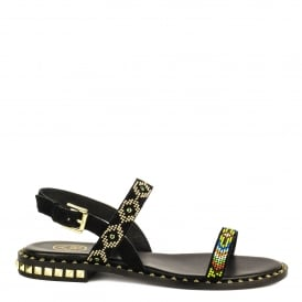 PEACE Beaded Sandals Black Suede