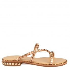 9bd5c382a8f5 PEACE BIS Sandals Rose Gold Leather   Studs