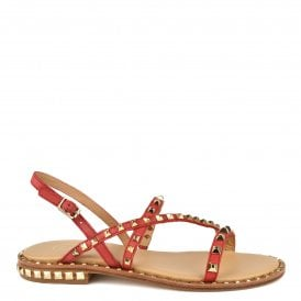 af573b98fbe8 PEACE Sandals Coral Leather   Gold Studs