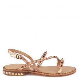 6c5cbcdef241 PEACE Sandals Rose Gold Leather   Studs
