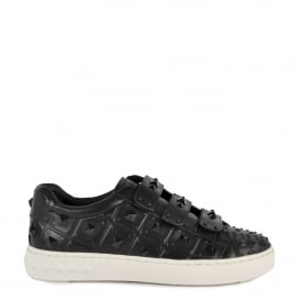 PEACE Studded Trainers Black Leather