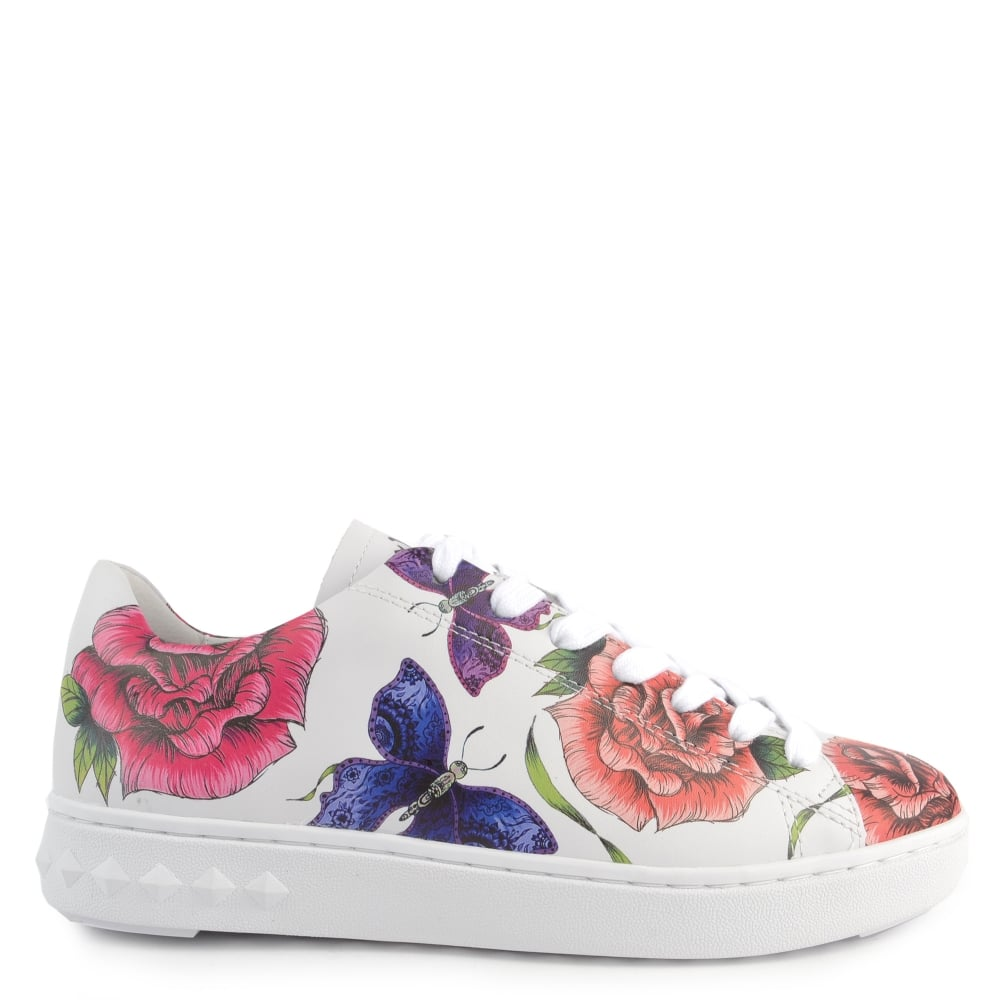 Ash PEACE Trainers White Leather With Floral Prints