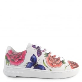 PEACE Trainers White Leather With Floral Prints