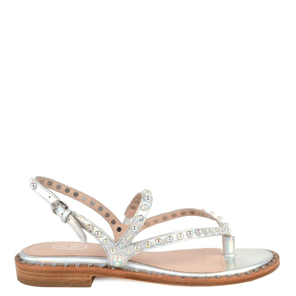 Ash PEARL Sandals in Silver Leather   Studs