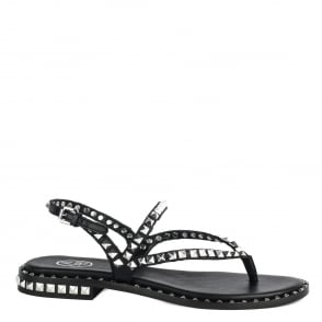 Ash PEPS Sandals Black Leather Silver Studs