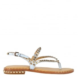 PEPS Sandals Ice Blue Leather Gold Studs