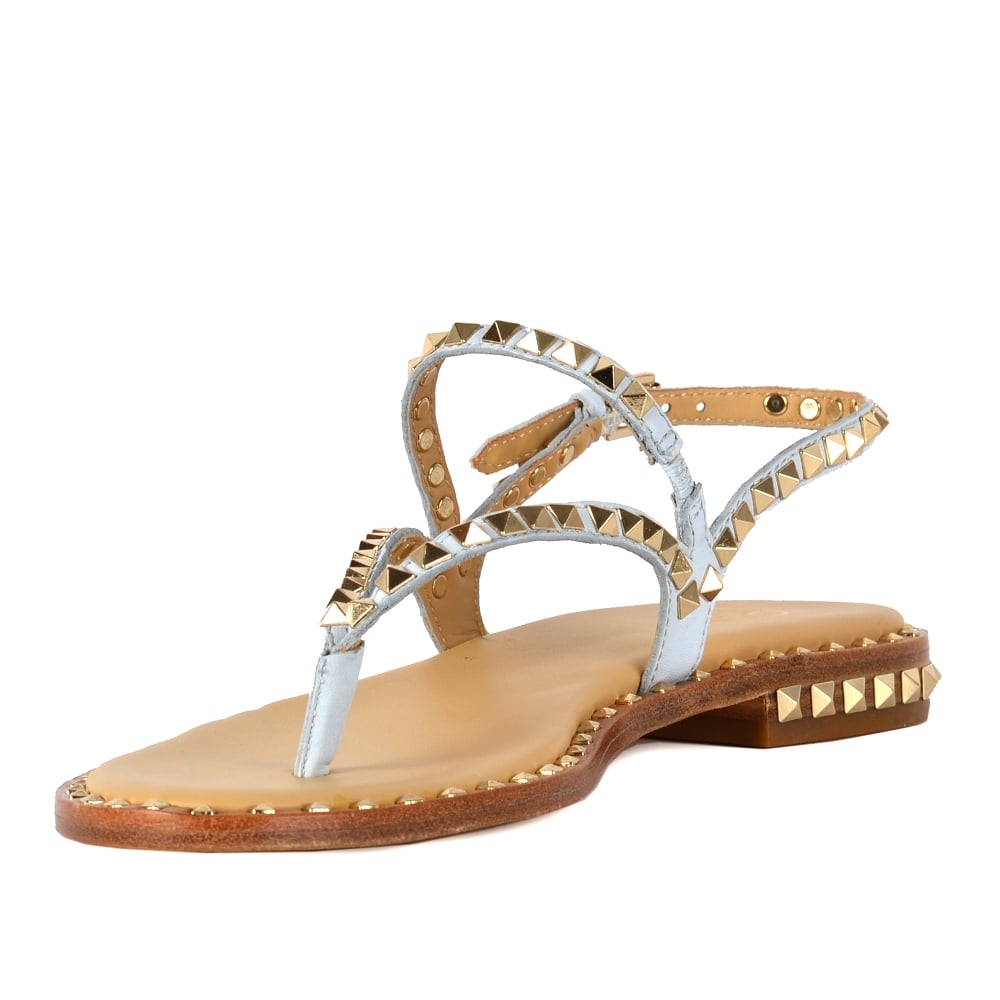 b783e321a5c4 PEPS Sandals Ice Blue Leather Gold Studs