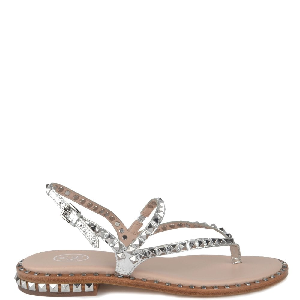 7a0104362bc9 Ash PEPS Sandals Silver Leather   Studs