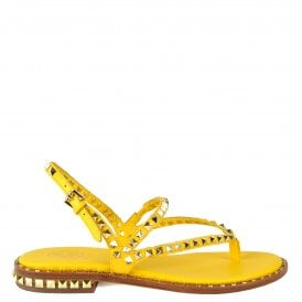 12e1b4a80f1e PEPS Sandals Yellow Leather Gold Studs