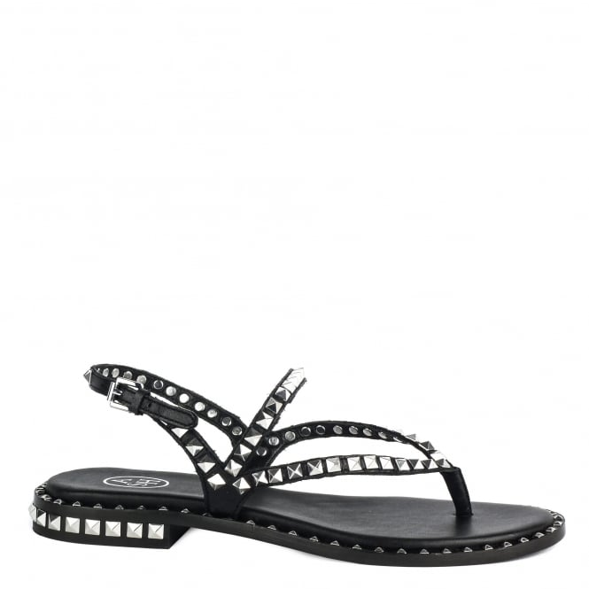 Ash PEPS Studded Sandals Black Leather Silver Studs