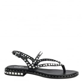 PEPS Studded Sandals Black Leather Silver Studs